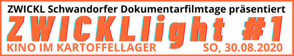 Banner für das ZWICKL light im Kartoffellager. Es ist alles in schwarz und Orange geschrieben.
